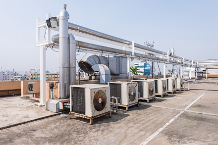 Air Conditioning Compressor On The Rooftop Terrace